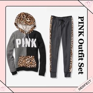 VS PINK leopard hoodie & high waist jogger outfit